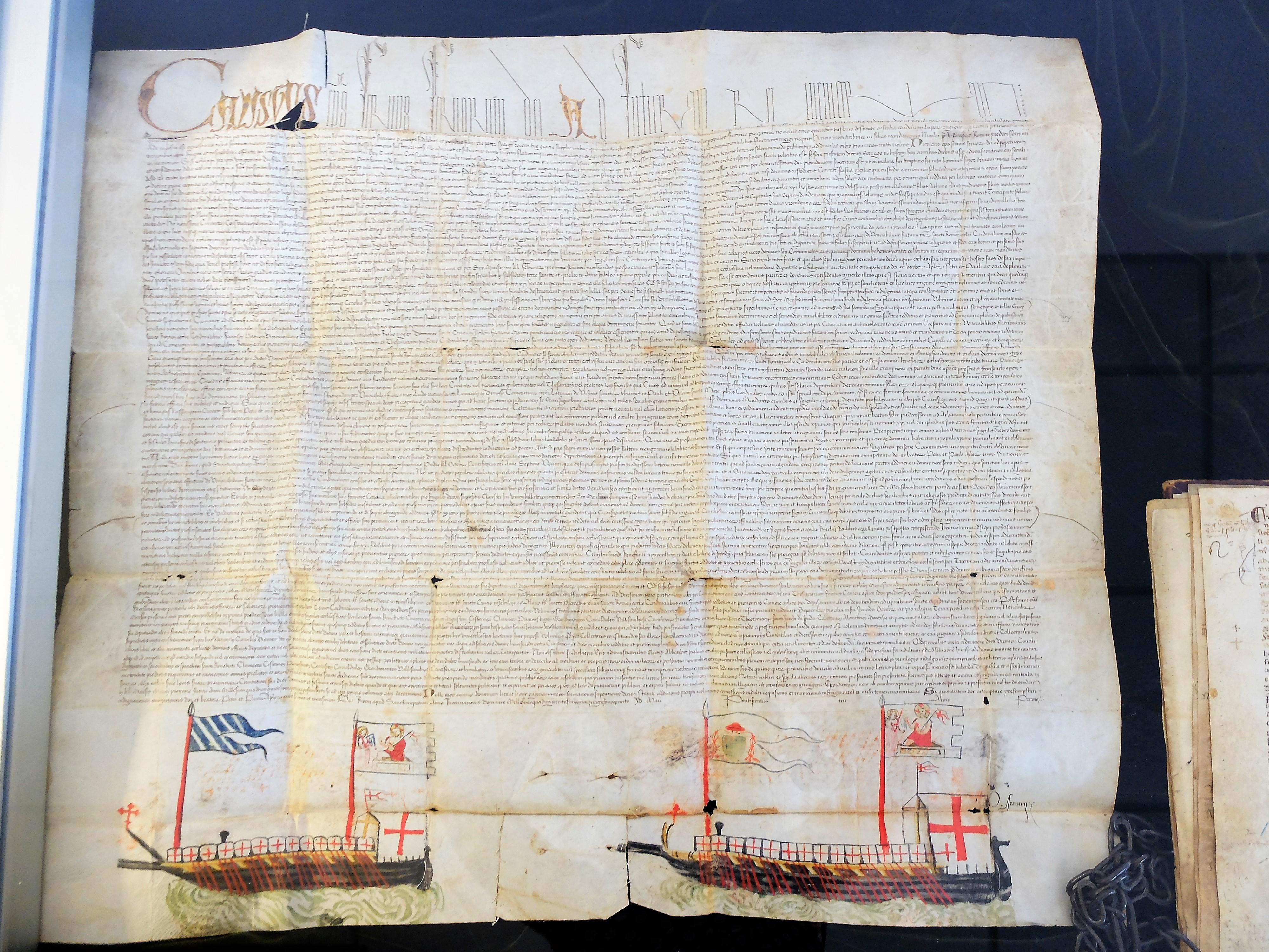 Diploma di papa Callisto III con navi disegnate sulla plica